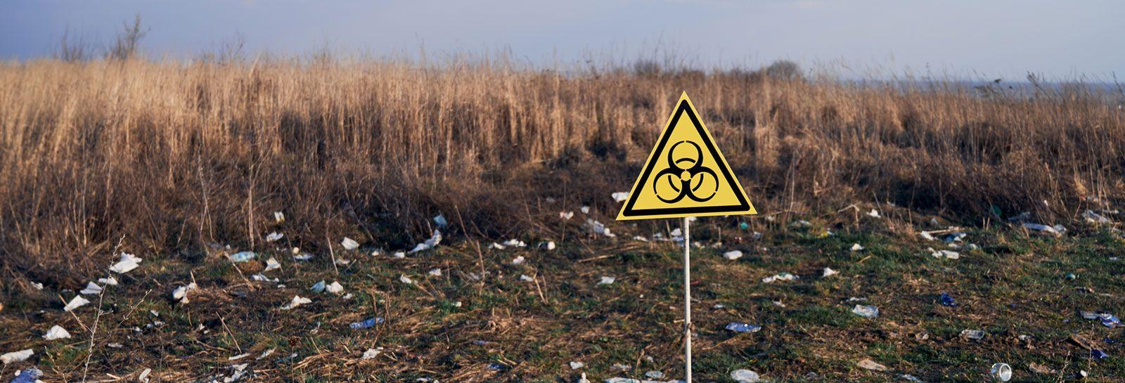 Waste ground with biohazard sign banner image